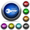 128 bit rsa encryption round glossy buttons - 128 bit rsa encryption icons in round glossy buttons with steel frames