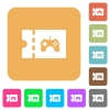 Toy store discount coupon rounded square flat icons - Toy store discount coupon flat icons on rounded square vivid color backgrounds.