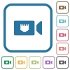 IP camera simple icons - IP camera simple icons in color rounded square frames on white background