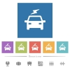 Electric car with flash flat white icons in square backgrounds. 6 bonus icons included. - Electric car with flash flat white icons in square backgrounds