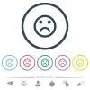 Sad emoticon flat color icons in round outlines. 6 bonus icons included. - Sad emoticon flat color icons in round outlines