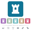 Bastion flat icons on color rounded square backgrounds - Bastion white flat icons on color rounded square backgrounds. 6 bonus icons included