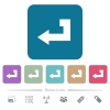 Return key flat icons on color rounded square backgrounds - Return key white flat icons on color rounded square backgrounds. 6 bonus icons included