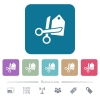 Price cut flat icons on color rounded square backgrounds - Price cut white flat icons on color rounded square backgrounds. 6 bonus icons included