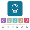 Light bulb flat icons on color rounded square backgrounds - Light bulb white flat icons on color rounded square backgrounds. 6 bonus icons included