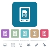 Mobile sim card flat icons on color rounded square backgrounds - Mobile sim card white flat icons on color rounded square backgrounds. 6 bonus icons included