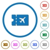 Air travel discount coupon flat color vector icons with shadows in round outlines on white background - Air travel discount coupon icons with shadows and outlines