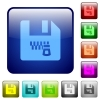 Zipped file color square buttons - Zipped file icons in rounded square color glossy button set
