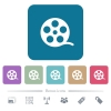Movie roll flat icons on color rounded square backgrounds - Movie roll white flat icons on color rounded square backgrounds. 6 bonus icons included