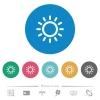 Brightness control flat round icons - Brightness control flat white icons on round color backgrounds. 6 bonus icons included.
