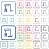 Scroll with certificate on left outlined flat color icons - Scroll with certificate on left color flat icons in rounded square frames. Thin and thick versions included.