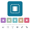 Place movie flat icons on color rounded square backgrounds - Place movie white flat icons on color rounded square backgrounds. 6 bonus icons included