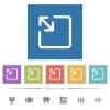 Resize object flat white icons in square backgrounds - Resize object flat white icons in square backgrounds. 6 bonus icons included.