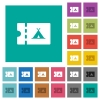 Camping discount coupon square flat multi colored icons - Camping discount coupon multi colored flat icons on plain square backgrounds. Included white and darker icon variations for hover or active effects.