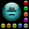 Incognito with mustache icons in color illuminated glass buttons - Incognito with mustache icons in color illuminated spherical glass buttons on black background. Can be used to black or dark templates