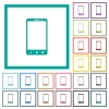 Modern mobile phone with three button flat color icons with quadrant frames - Modern mobile phone with three button flat color icons with quadrant frames on white background