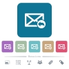 Reply mail flat icons on color rounded square backgrounds - Reply mail white flat icons on color rounded square backgrounds. 6 bonus icons included