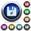 Tag file round glossy buttons - Tag file icons in round glossy buttons with steel frames
