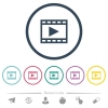 Play movie flat color icons in round outlines - Play movie flat color icons in round outlines. 6 bonus icons included.