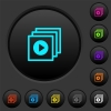 Play files dark push buttons with color icons - Play files dark push buttons with vivid color icons on dark grey background