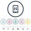 Mobile data traffic flat color icons in round outlines - Mobile data traffic flat color icons in round outlines. 6 bonus icons included.