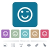 Winking emoticon flat icons on color rounded square backgrounds - Winking emoticon white flat icons on color rounded square backgrounds. 6 bonus icons included