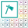 Single tomahawk flat color icons with quadrant frames - Single tomahawk flat color icons with quadrant frames on white background