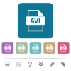 AVI file format flat icons on color rounded square backgrounds - AVI file format white flat icons on color rounded square backgrounds. 6 bonus icons included