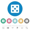 Dice five flat round icons - Dice five flat white icons on round color backgrounds. 6 bonus icons included.