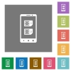 Dual SIM mobile square flat icons - Dual SIM mobile flat icons on simple color square backgrounds