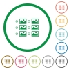 Single image selection with radio buttons flat icons with outlines - Single image selection with radio buttons flat color icons in round outlines on white background