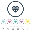 Diamond flat color icons in round outlines - Diamond flat color icons in round outlines. 6 bonus icons included.