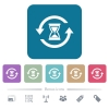 Reload symbol with sandglass white flat icons on color rounded square backgrounds. 6 bonus icons included - Reload symbol with sandglass flat icons on color rounded square backgrounds