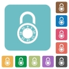 Locked round combination lock rounded square flat icons - Locked round combination lock white flat icons on color rounded square backgrounds