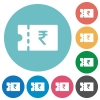 Indian Rupee discount coupon flat round icons - Indian Rupee discount coupon flat white icons on round color backgrounds