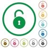 Unlocked round padlock with keyhole flat icons with outlines - Unlocked round padlock with keyhole flat color icons in round outlines on white background