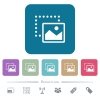 Drag image to bottom right flat icons on color rounded square backgrounds - Drag image to bottom right white flat icons on color rounded square backgrounds. 6 bonus icons included