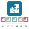 Puzzles flat icons on color rounded square backgrounds - Puzzles white flat icons on color rounded square backgrounds. 6 bonus icons included