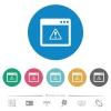 Application warning flat round icons - Application warning flat white icons on round color backgrounds. 6 bonus icons included.