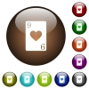 Nine of hearts card color glass buttons - Nine of hearts card white icons on round color glass buttons