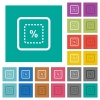 Scale object by percent square flat multi colored icons - Scale object by percent multi colored flat icons on plain square backgrounds. Included white and darker icon variations for hover or active effects.