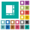 Blank document with scroll bars square flat multi colored icons - Blank document with scroll bars multi colored flat icons on plain square backgrounds. Included white and darker icon variations for hover or active effects.