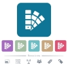 Color swatch flat icons on color rounded square backgrounds - Color swatch white flat icons on color rounded square backgrounds. 6 bonus icons included
