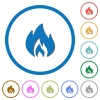 Flame flat color vector icons with shadows in round outlines on white background - Flame icons with shadows and outlines