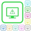 Display warning vivid colored flat icons - Display warning vivid colored flat icons in curved borders on white background