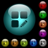 Edit component icons in color illuminated glass buttons - Edit component icons in color illuminated spherical glass buttons on black background. Can be used to black or dark templates