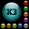Basketball discount coupon icons in color illuminated glass buttons - Basketball discount coupon icons in color illuminated spherical glass buttons on black background. Can be used to black or dark templates