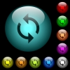 Programming loop icons in color illuminated glass buttons - Programming loop icons in color illuminated spherical glass buttons on black background. Can be used to black or dark templates