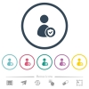 User account protected flat color icons in round outlines - User account protected flat color icons in round outlines. 6 bonus icons included.