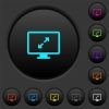 Adjust screen resolution dark push buttons with vivid color icons on dark grey background - Adjust screen resolution dark push buttons with color icons